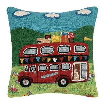 Red Bus Hook Cotton Lumbar Pillow