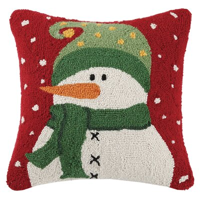Folk Snowman Wool Throw Pillow