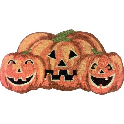 Happy Halloween Pumpkin Shaped Coir Doormat