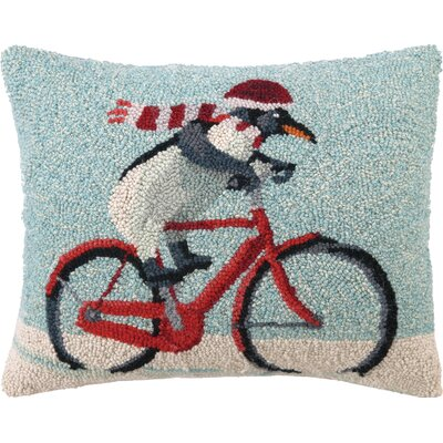Biking Penguin Hook Wool Throw Pillow
