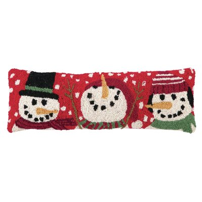 Three Snowmen Hook Wool Throw Pillow