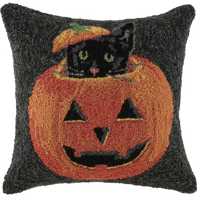 Peeking Cat Pumpkin Hook Throw Pillow