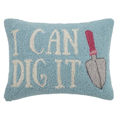 I Can Dig It Hook 100% Wool Lumbar Pillow