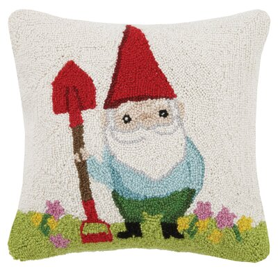 Garden Gnome Hook 100% Wool Throw Pillow