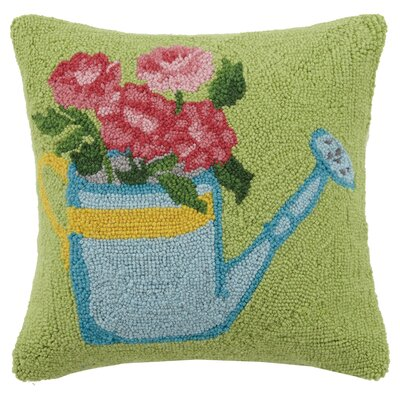 Watering Flowers Hook 100% Wool Throw Pillow
