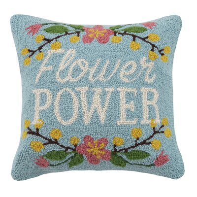 Flower Power Hook 100% Wool Throw Pillow