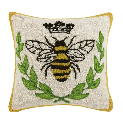 Bee Laurel Bee Hook 100% Wool Throw Pillow