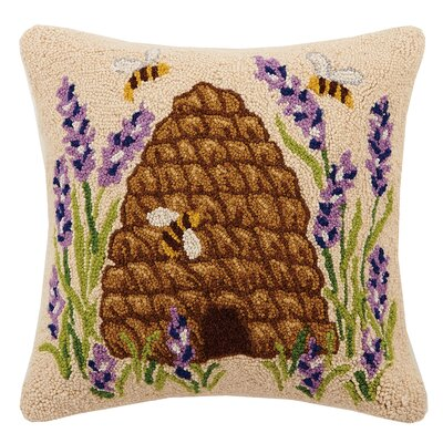 Beehive Lavender Bee Hook 100% Wool Throw Pillow