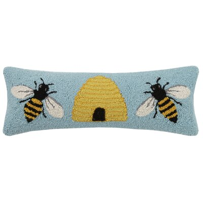 Honeycomb Bee Bee Hook 100% Wool Lumbar Pillow