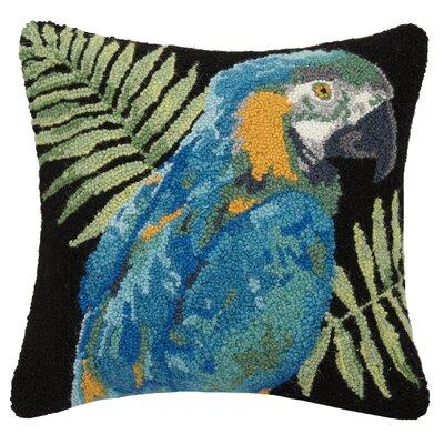Vintage Parrot Flower Hook 10% Wool Throw Pillow