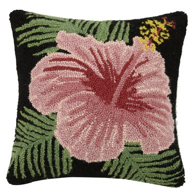 Vintage Hibiscus Flower Hook 100% Wool Throw Pillow