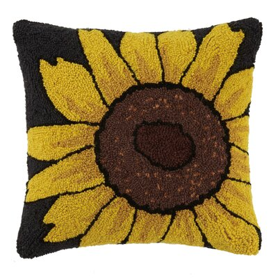 Sunflower Vintage Flower Hook 100% Wool Throw Pillow