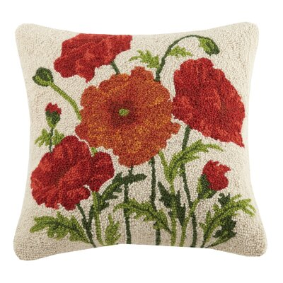 Poppy Poppy and Sunflowers Hook 100% Wool Throw Pillow