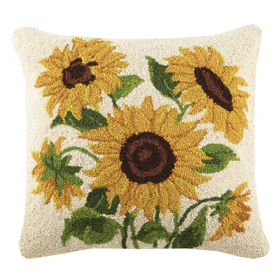 Sunflowers Poppy and Sunflowers Hook 100% Wool Throw Pillow