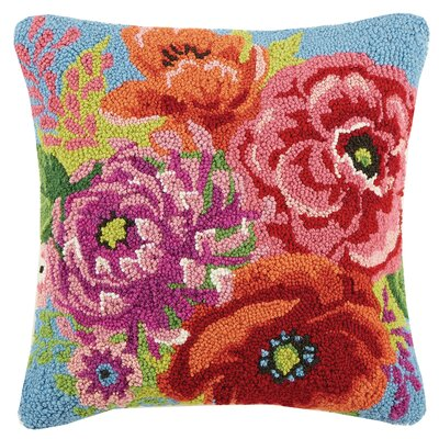 Gypsy Garden Poppy and Sunflowers Hook 100% Wool Throw Pillow