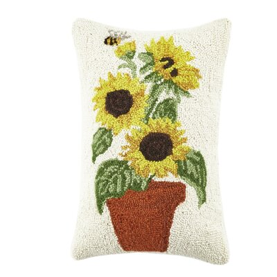 Potted Sunflowers Poppy and Sunflowers Hook 100% Lumbar Pillow