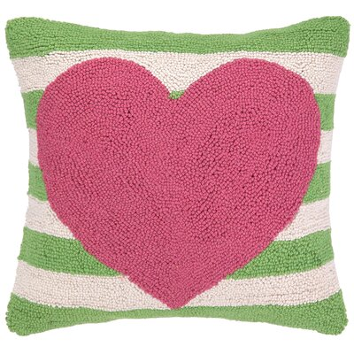 Heart With Stripe Hook Wool Throw Pillow Color: Pink / Green