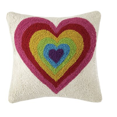 Rainbow Heart Valentines Hook Wool Throw Pillow