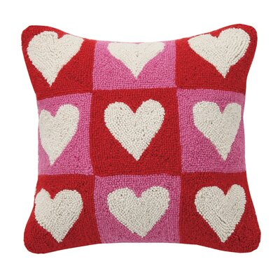 Checkered Heart Valentines Hook Wool Throw Pillow