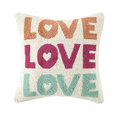 Love Love Love Valentines Hook Wool Throw Pillow
