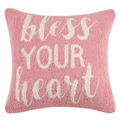 Bless Your Heart Valentines Hook Wool Throw Pillow