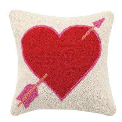 Shot Through Heart Valentines Hook Wool Throw Pillow
