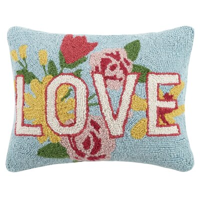 Love Flowers Valentines Hook Wool Lumbar Pillow