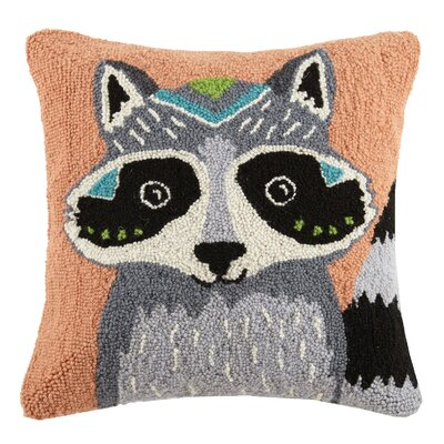 Boho Raccoon Animal Hook Wool Throw Pillow