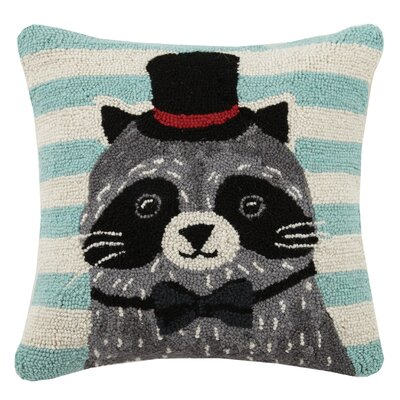 Raccoon Animal Stripe Hook Wool Throw Pillow