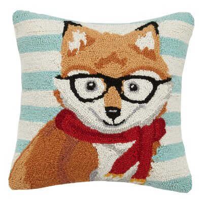 Fox Animal Stripe Hook Wool Throw Pillow