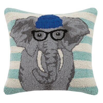 Elephant Animal Stripe Hook Wool Throw Pillow