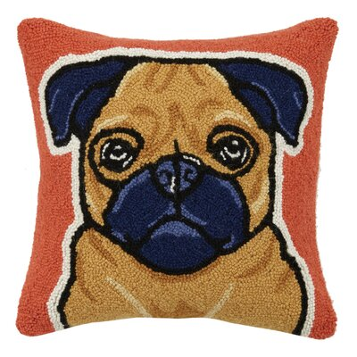 Pug Hook Wool Throw Pillow
