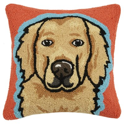 Golden Retriever Hook Wool Throw Pillow