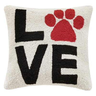 Dogs Love Paw Hook Wool Throw Pillow