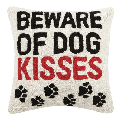 Beware of Dog Kisses Hook Wool Throw Pillow