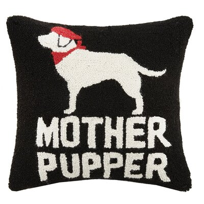 Mother Pupper Hook Wool Throw Pillow