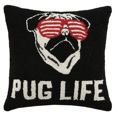 Pug Life Hook Wool Throw Pillow