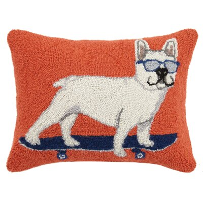Skateboard Pug Hook Wool Lumbar Pillow