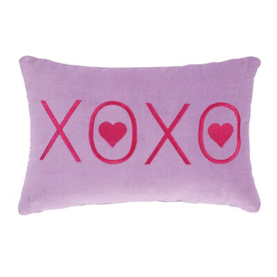 Valentines Purple XOXO Velvet Cotton Lumbar Pillow