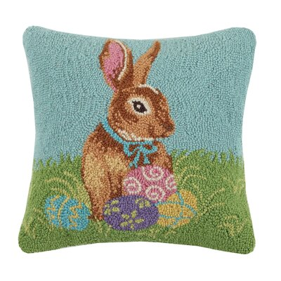 Bunny and Eggs Hook Wool Throw Pillow