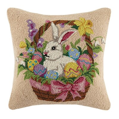 Bunny and Eggs Basket Hook Wool Throw Pillow