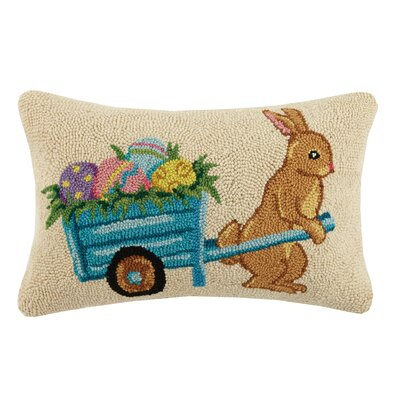 Rabbit Wheelbarrel Hook Wool Lumbar Pillow