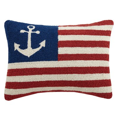USA Peace Anchor Flag Hook Wool Lumbar Pillow