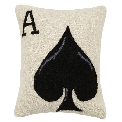 Sports and Game Room Ace of Spades Hook Wool Lumbar Pillow