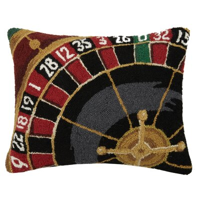 Sports and Game Room Roulette Hook Wool Lumbar Pillow