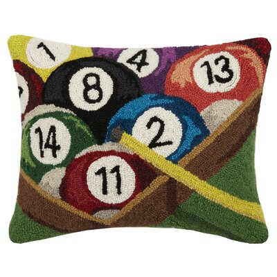 Sports and Game Room Pool Rack Wool Lumbar Pillow