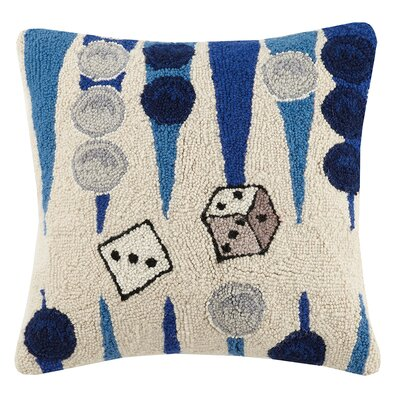 Sports and Game Room Backgammon Hook Wool Throw Pillow