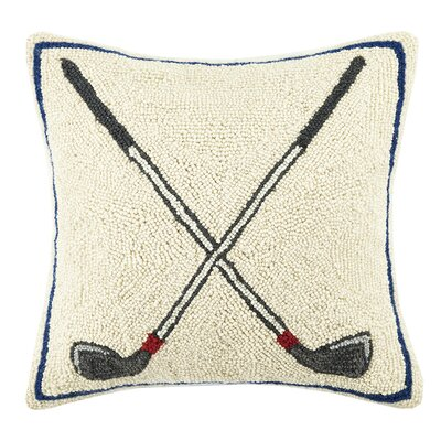 Crossed Golf Club Hook Wool Throw Pillow