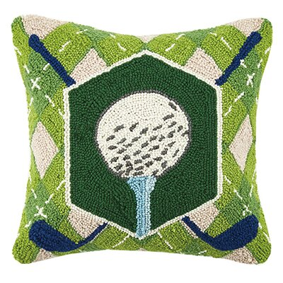Live, Love, Golf Crossed Golf Ball Hook Wool Throw Pillow