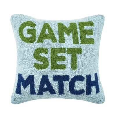 Tennis Game, Set, Match Hook Wool Throw Pillow